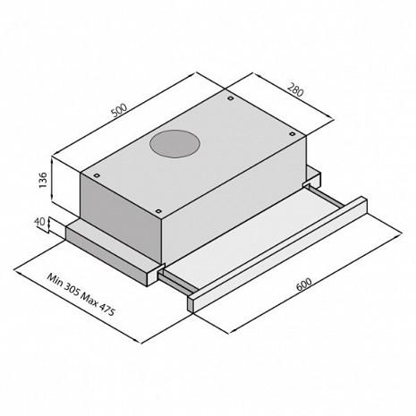 Tvaika nosūcējs  1190metalix-inox,50