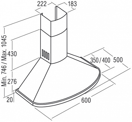 Tvaika nosūcējs  Clasica 600 Blanka/B