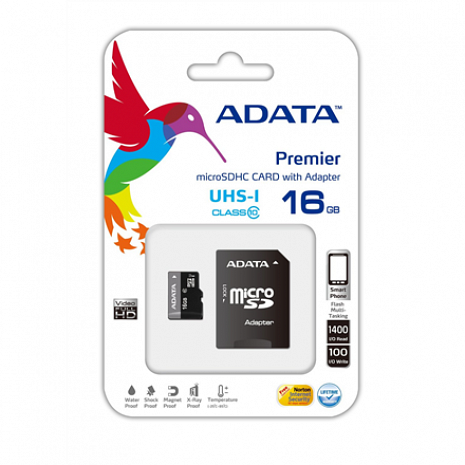 Atmiņas karte ADATA Premier UHS-I 16 GB, MicroSDHC, Flash memory class 10, SD adapter AUSDH16GUICL10-RA1