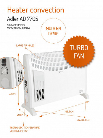 Konvekcijas gaisa sildītājs ar ventilatoru  AD7705
