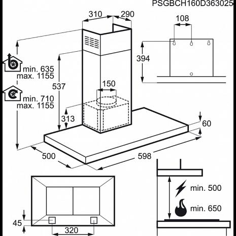 Tvaika nosūcējs  DBB5660HM