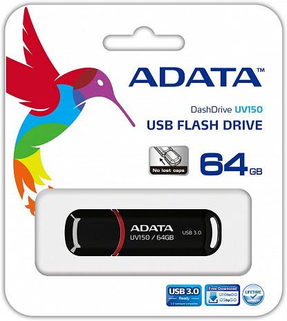 USB zibatmiņa UV150 64GB,USB,3.0,Black AUV150-64G-RBK