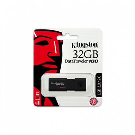 USB zibatmiņa DataTraveler 100 Generation 3 32 GB, USB 3.0, Black DT100G3/32GB