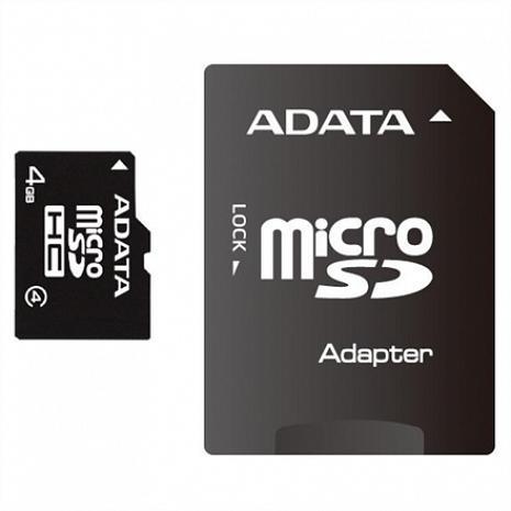 Atmiņas karte ADATA 32 GB, MicroSDHC, Flash memory class 4, SD adapter AUSDH32GCL4-RA1