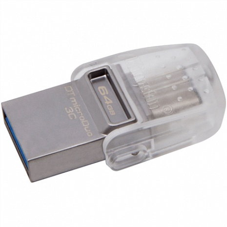 USB zibatmiņa DataTraveler microDuo 3C 64 GB, USB 3.1, Transparent/Metal DTDUO3C/64GB