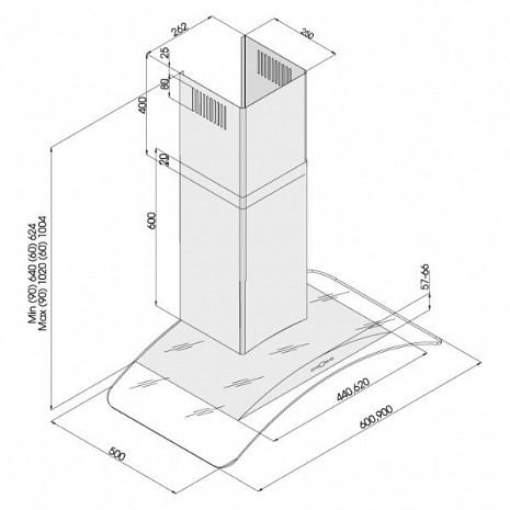Tvaika nosūcējs  3159inox/PushButton